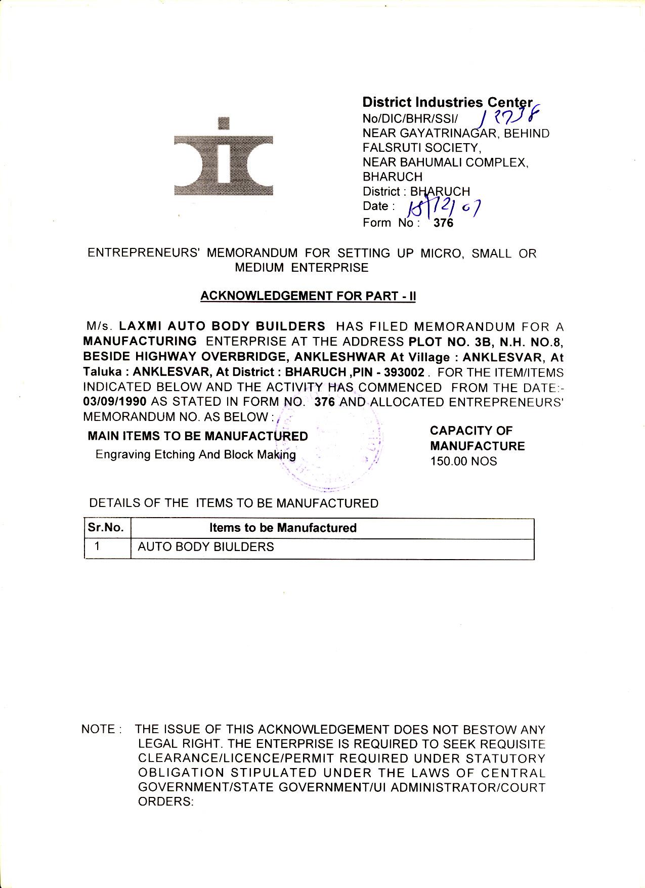 Certification laxmi auto body builders msme certificate front xflitez Images