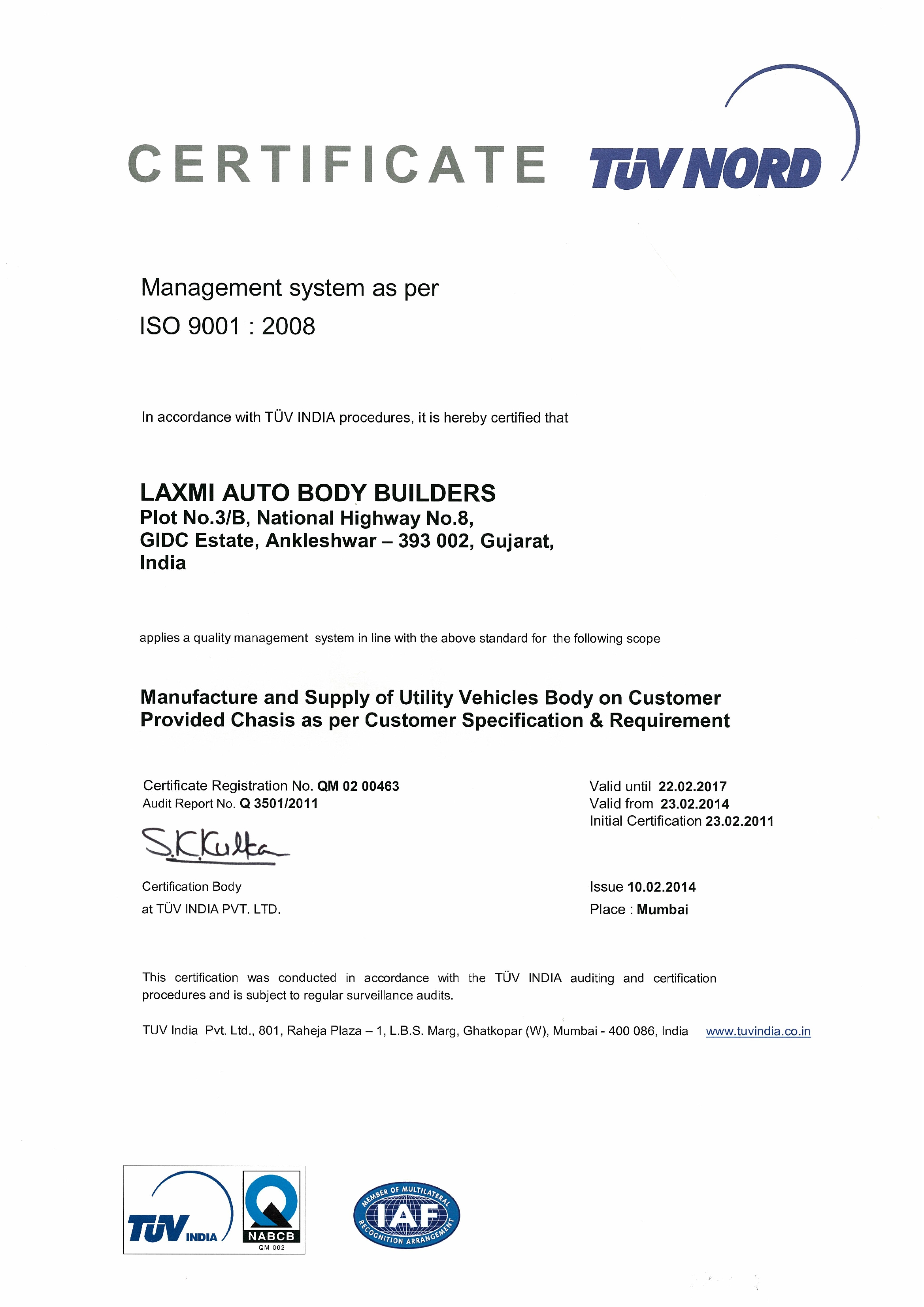 Certification laxmi auto body builders iso certificate 1betcityfo Gallery