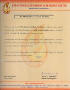 Appreciation Letter - Surat Raktadan Kendra