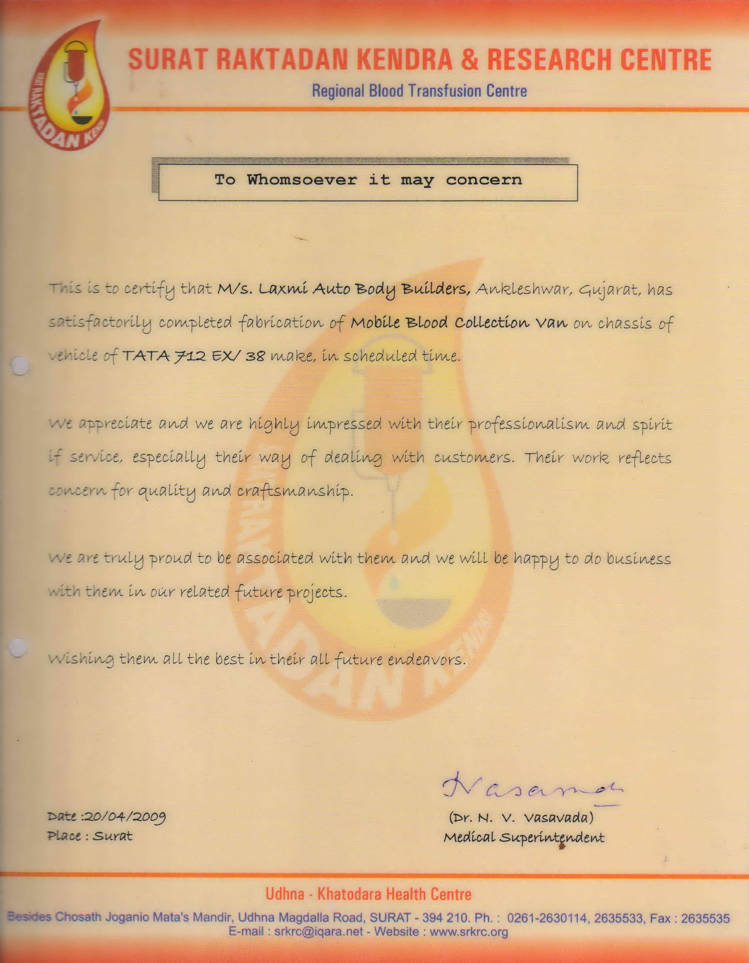 Appreciation Letter Laxmi Auto Body Builders